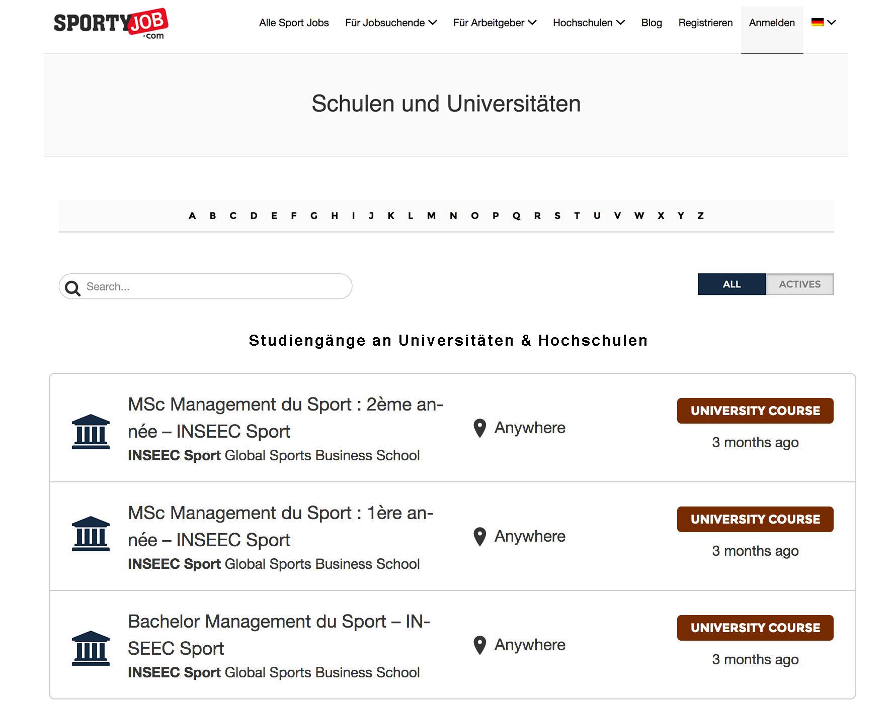 Verzeichnis für Universitäten und Hochschulen und der angebotenen Sport-bezogenen Studiengänge