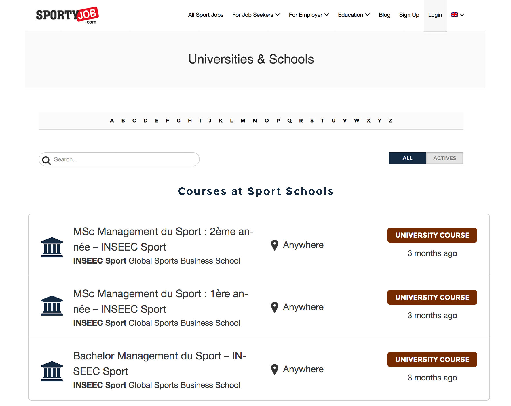 List your school & your sport related courses